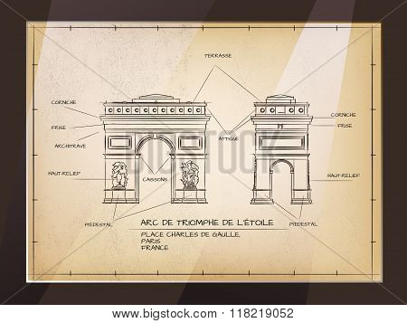 Old Style Architectural Technical Drawing of Arc De Triomphe, Paris poster