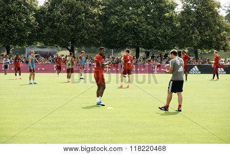Players Of Bayern Muenchen At A Training Session Of Their Team.