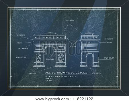 Old Style Architectural Blueprint Technical Drawing of Arc De Triomphe, Paris poster