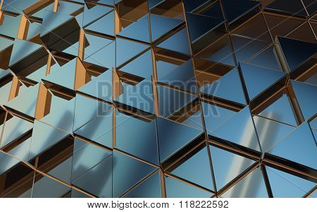 Abstract background of the triangular-shaped object with reflections