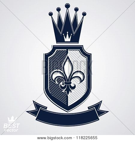 Imperial Insignia, Vector Royal Shield With Decorative Band And Monarch Coronet. Detailed Eps8 Coat