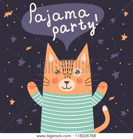 Pajama party card with a cute cat