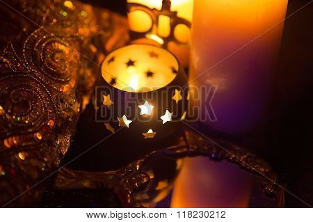 Incense In A Golden Stand Of Om Symbol Form And Luxurious Gold Service
