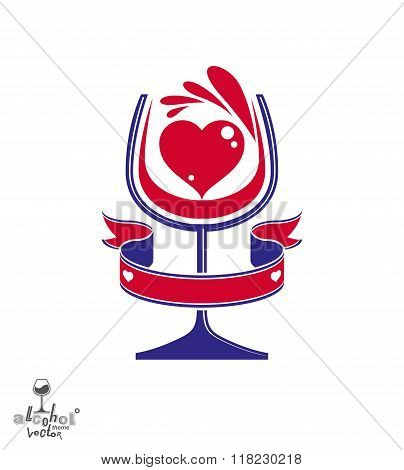 Vector festive illustration of goblet with wine splash, party and leisure conceptual graphic element. Romantic rendezvous theme, stylized red heart and beautiful wavy ribbon.