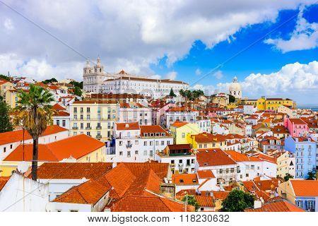 Lisbon, Portugal town skyline at the Alfama.