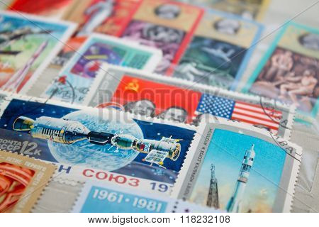 old Soviet postage stamps
