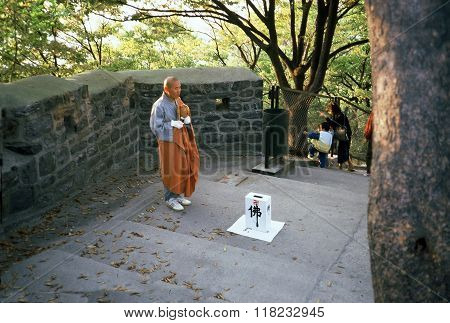 Monk on Namsan Mountain