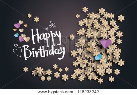 Happy Birthday text  on  background with flowers and heart from paper