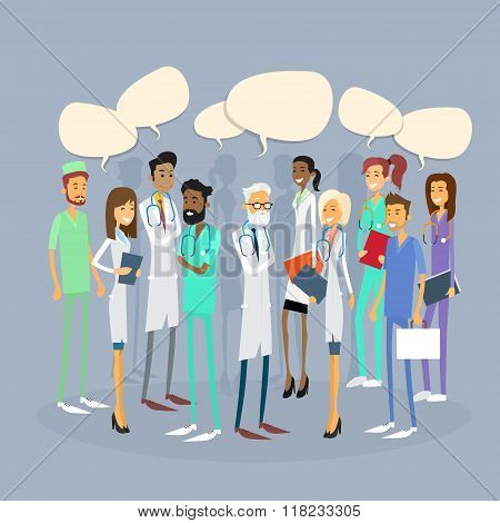 Group Medial Doctors Team Chat Bubble Communication