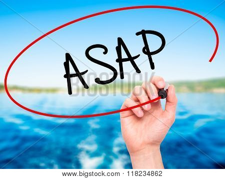 Man Hand Writing Asap  With Black Marker On Visual Screen