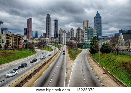Atlanta Downtown Skyline Scenes In January On Cloudy Day