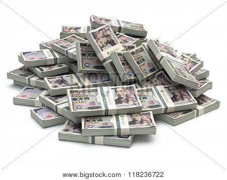 Heap of japanese yen pack money isolated on white. 3d