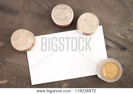 Blank Name Card With Coins