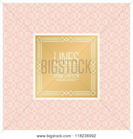 Linear Pattern and Frame in gold and pink colors