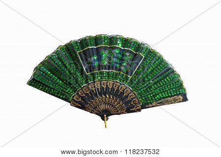 Green Folding Fan