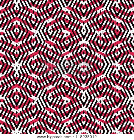 Geometric messy lined seamless pattern colorful maze vector endless background. Decorative net splicing motif texture. Red decorative backdrop. poster