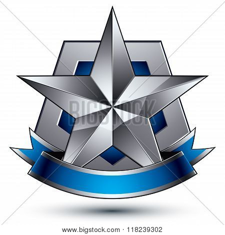 3D Vector Classic Protection Symbol, Sophisticated Silver Emblem With Pentagonal Star Isolated On Wh