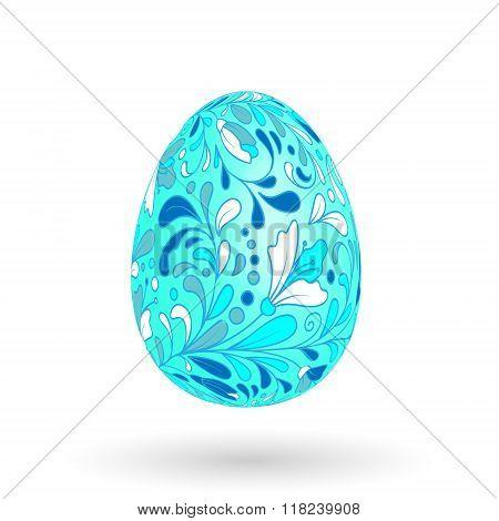 Colorful easter egg with ornate doodle floral decoration. Colorful floral pattern on blue egg.