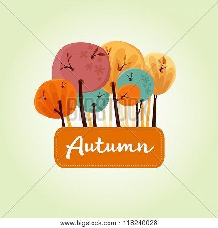 Beautiful autumn trees banner