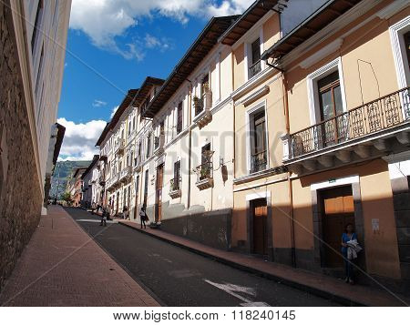 Buildings, People, Cars On The Streets Of The Capital City Of Quito