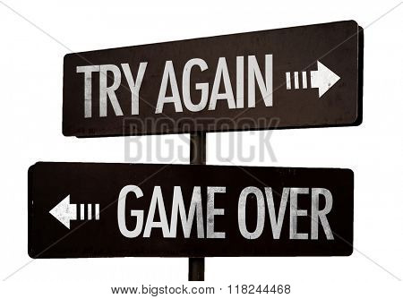 Try Again - Game Over signpost isolated on white background