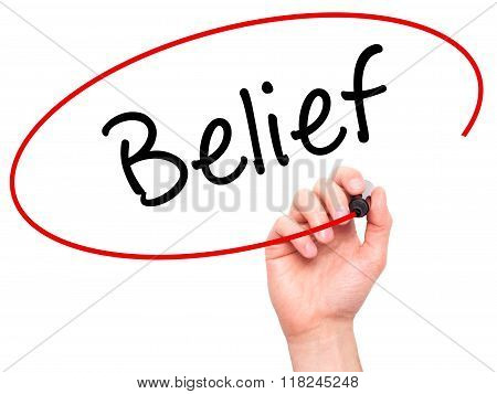 Man Hand Writing Belief With Black Marker On Visual Screen
