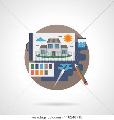 School art detail flat color vector icon