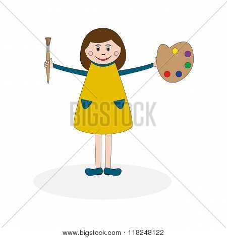 Girl With Palette And Brush
