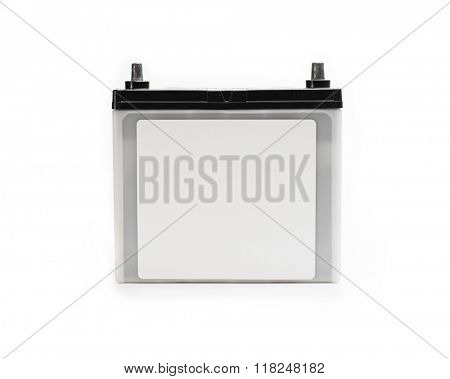 Car battery or automotive battery, with blank label, isolated on white. Rechargeable battery.