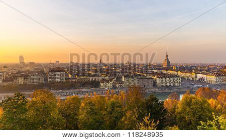 Panoramic Cityscape Of Turin From Above At Sunset