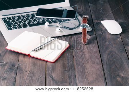Office Desk With Laptop Computer, Planner, Mobile Smartphone