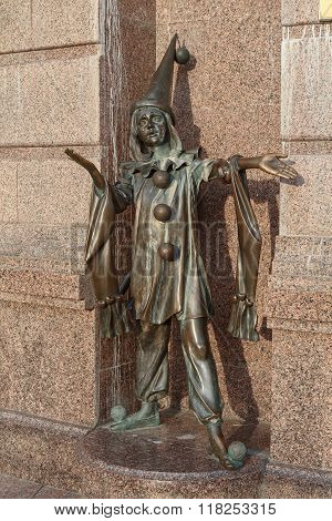 Kiev, Ukraine - OBronze statue of character from fairy tale pierrot near the Academic Puppet Theater