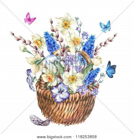 Spring bouquet with daffodils in the wicker