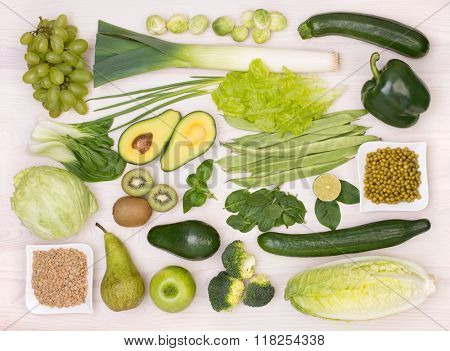 Green fruit and vegetables, top view