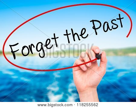 Man Hand Writing Forget The Past With Black Marker On Visual Screen