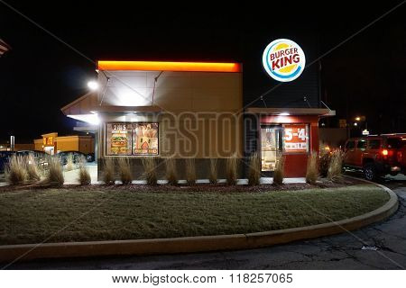 Burger King Restaurant at Night
