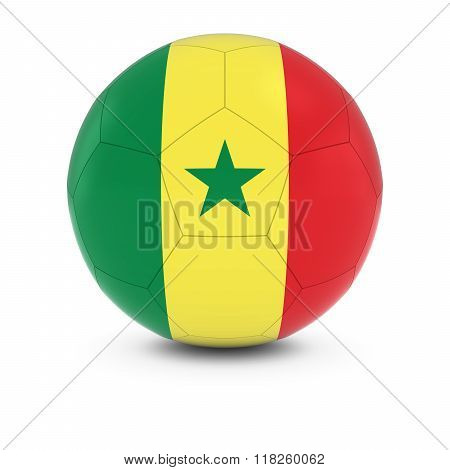 Senegal Football - Senegalese Flag on Soccer Ball - 3D Illustration