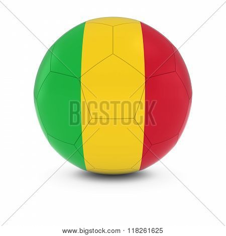 Mali Football - Malian Flag on Soccer Ball - 3D Illustration