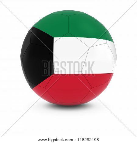 Kuwait Football - Kuwaiti Flag on Soccer Ball - 3D Illustration