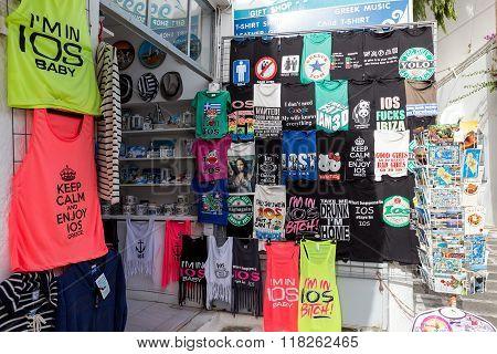 Souvenir Shop In The Famous Mediterranean Island Ios, Greece.