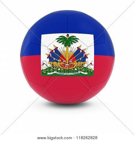 Haiti Football - Haitian Flag on Soccer Ball - 3D Illustration