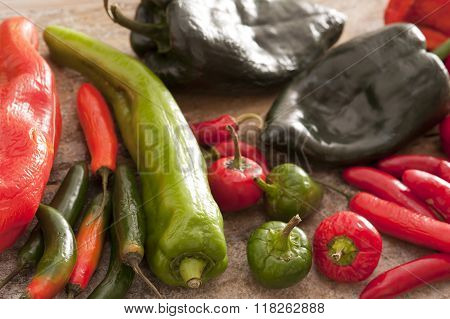 Large Assortment Of Hot Chili Peppers
