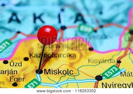 Miskolc pinned on a map of Hungary