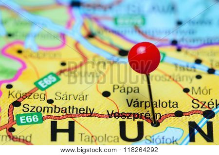 Veszprem pinned on a map of Hungary