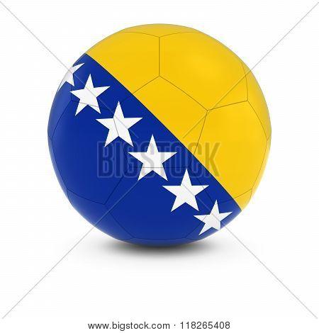 Bosnia And Herzegovina Football - Bosnian And Herzegovinian Flag On Soccer Ball