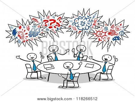 Cartoon business people cursing and fighting in a meeting