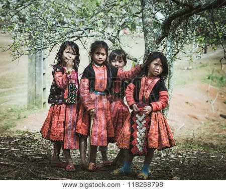 H'mong ethnic children in traditional custome play in H'mong holiday.