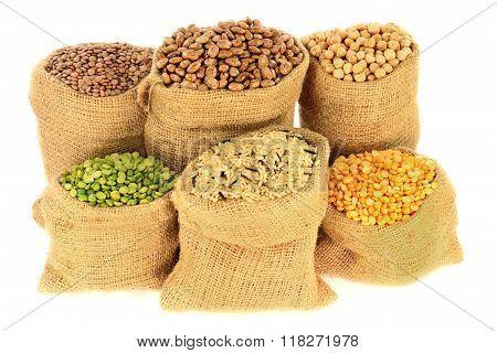 Legumes, Pulses In Burlap Bags