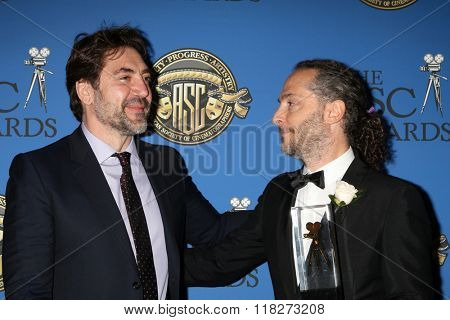 LOS ANGELES - FEB 14:  Javier Bardem, Emmanuel Lubezki at the 2016 American Society of Cinematographers Awards at the Century Plaza Hotel on February 14, 2016 in Century City, CA
