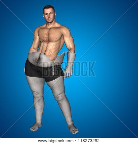 Concept or conceptual 3D fat overweight vs slim fit diet muscles zipper young man blue gradient background poster